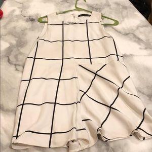White/black checkered romper